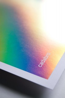 cadabra's brand stationnery with iridescent print