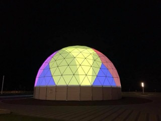 Testing the projection equipment in a 360 degree dome